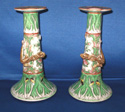 Pair of Chinese Export Porcelain Cabbage Leaf Candlesticks