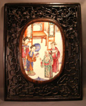 Chinese Export Mandarin Plaque in Rosewood Frame