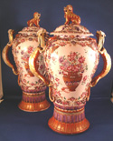 Rare Pair of Chinese Export Covered Vases