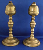 Pair of Signed WEBB Brass oil Lamps.