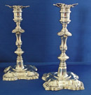 Pair of Silver Candlesticks by William Grundy 1749-50