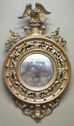 Convex Mirror with Rare Acanthus Leaf Carving
