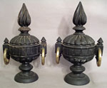 Pair of Carved Wooden Urns with Brass Rings