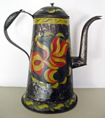 Paint Decorated Tin Coffee Pot