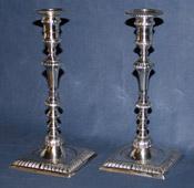 Tall Pair of English Sterling Candlesticks By William Cafe
