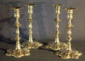 Matched Set of Four George III Silver Candlesticks